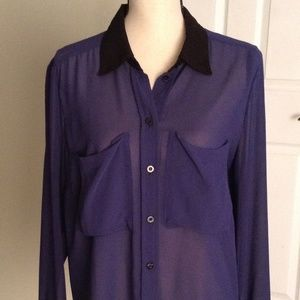 BCBG Sheer Button Down Blouse - Periwinkle